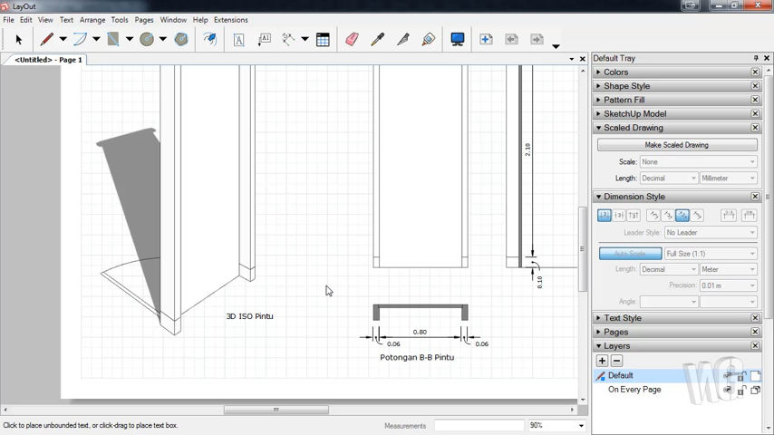 Membuat Gambar Kerja Pintu Tunggal Menggunakan LayOut SketchUp
