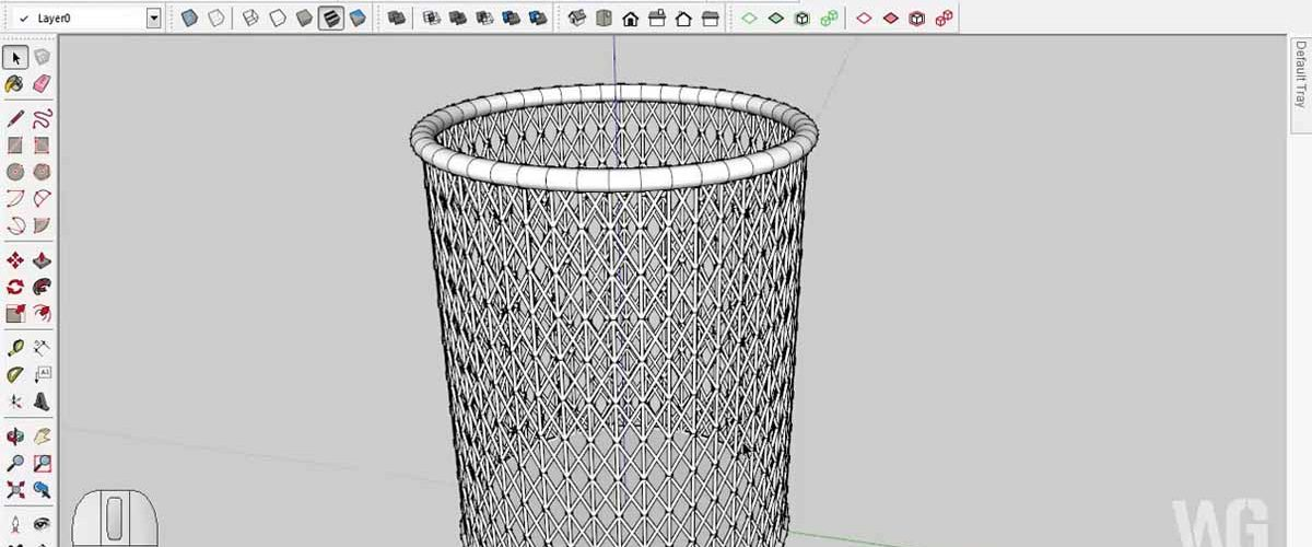 SketchUp Modeling Tempat Pensil Jaring