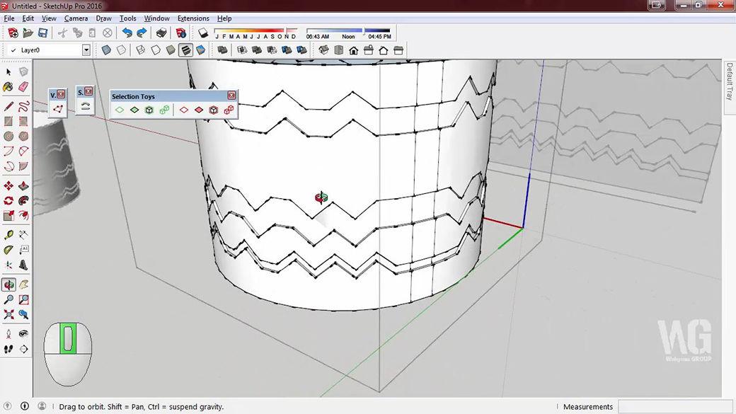 Modeling Cylinder Curve dengan SketchUp Berbahasa Jawa
