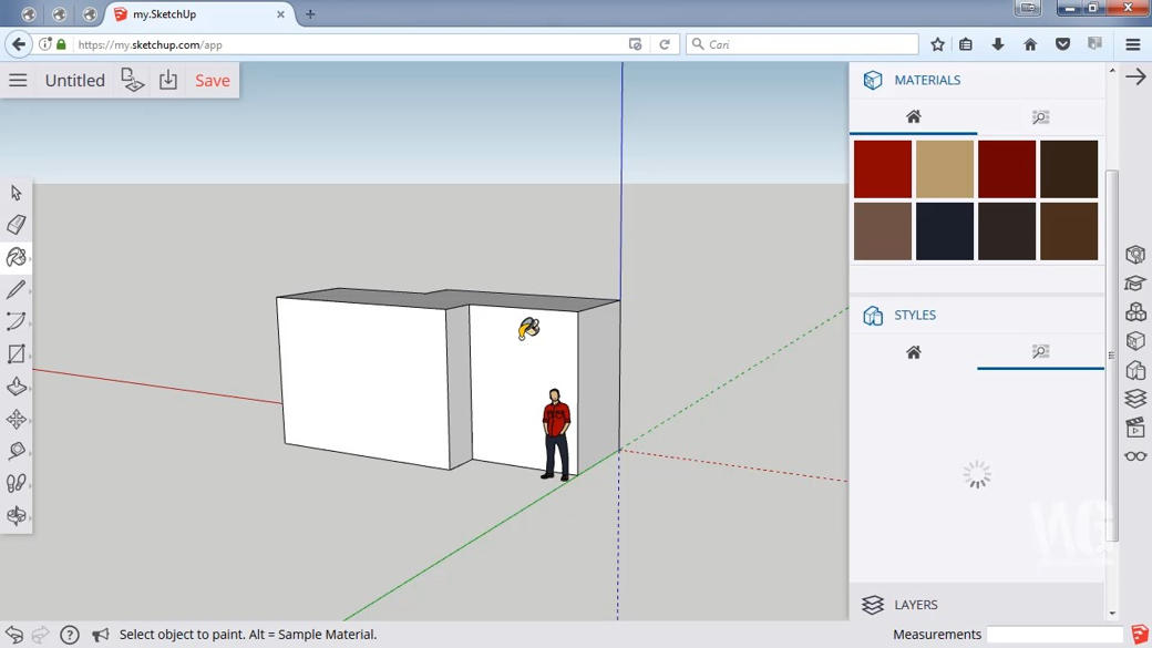 Review Modeling dengan SketchUp di Browser Chrome