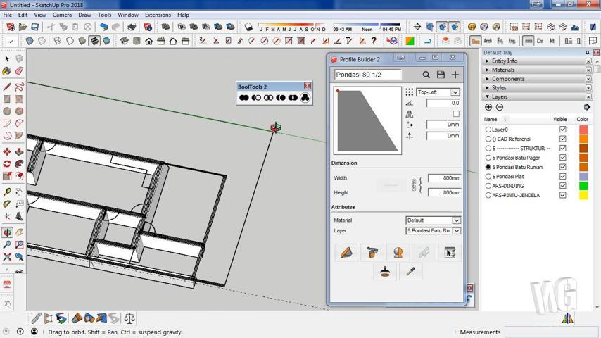 Modeling Pondasi Rumah Menggunakan SketchUp
