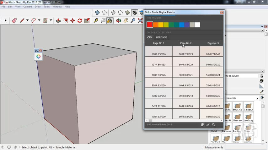 Plugin SketchUp Dulux Trade Digital Palette