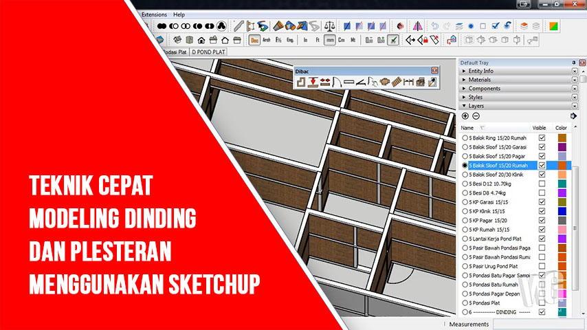 Modeling Dinding di SketchUp