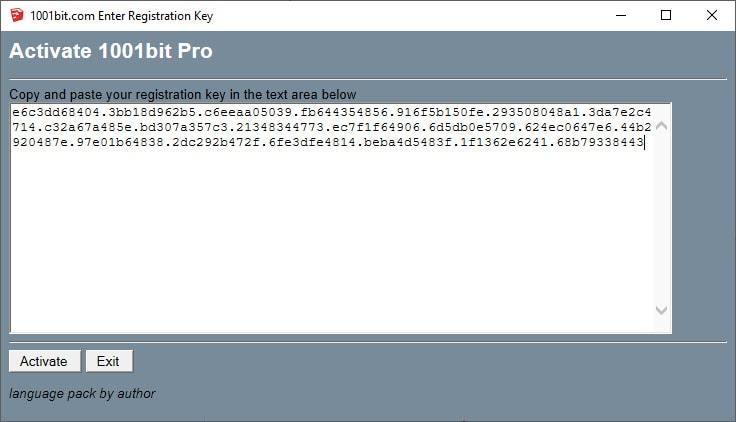 1001bit Enter Registration Key