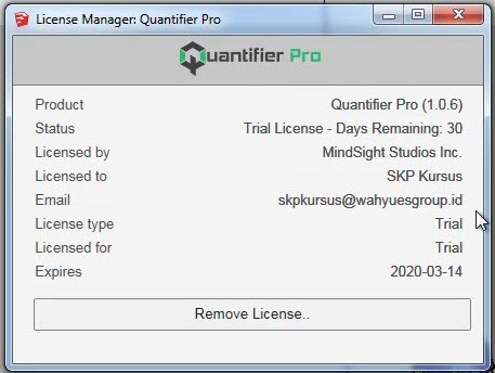 License Manager Quantifier Pro Trial