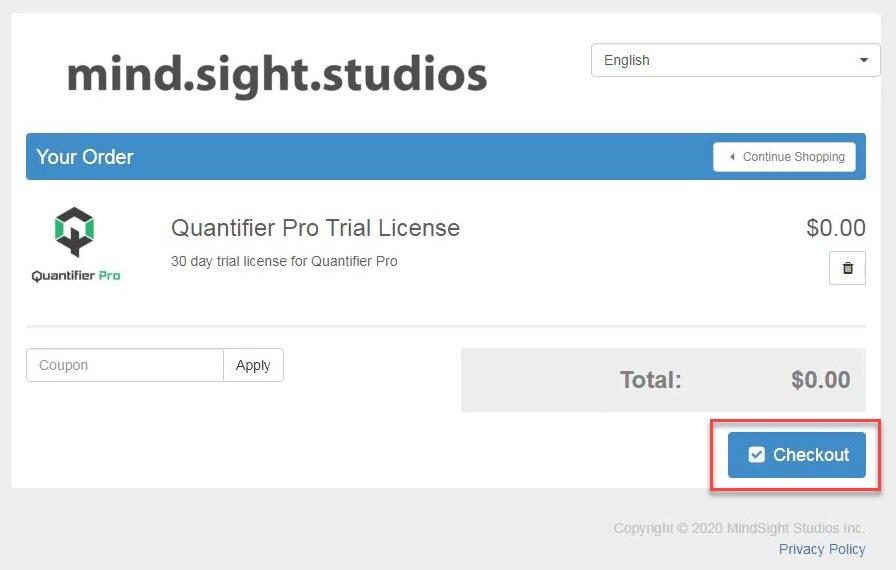 Quantifier Pro Checkout