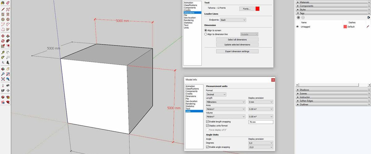 Mengatur Dimensi dan Merubah Satuan SketchUp