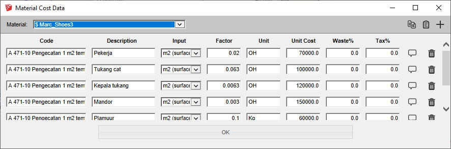 PB Quantifier Material Cost Data