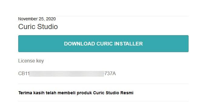 Curic Studio License Email