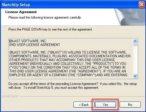 SketchUp 5 Setup License Agreement