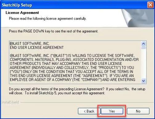 SketchUp 5 Setup License Agreement